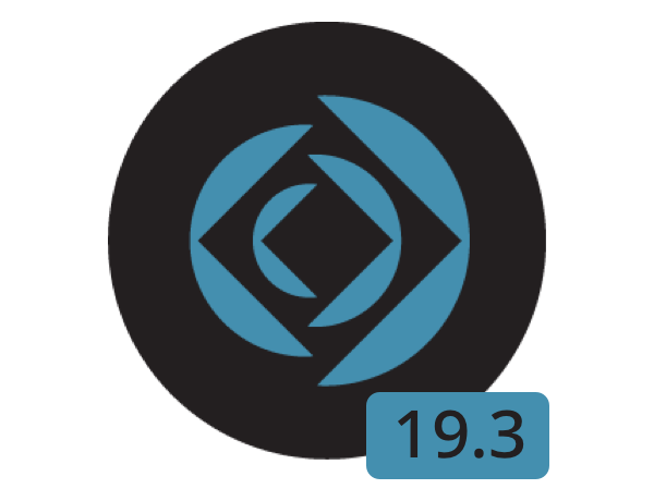 Claris logo with 19.3 in a blue box underneath it